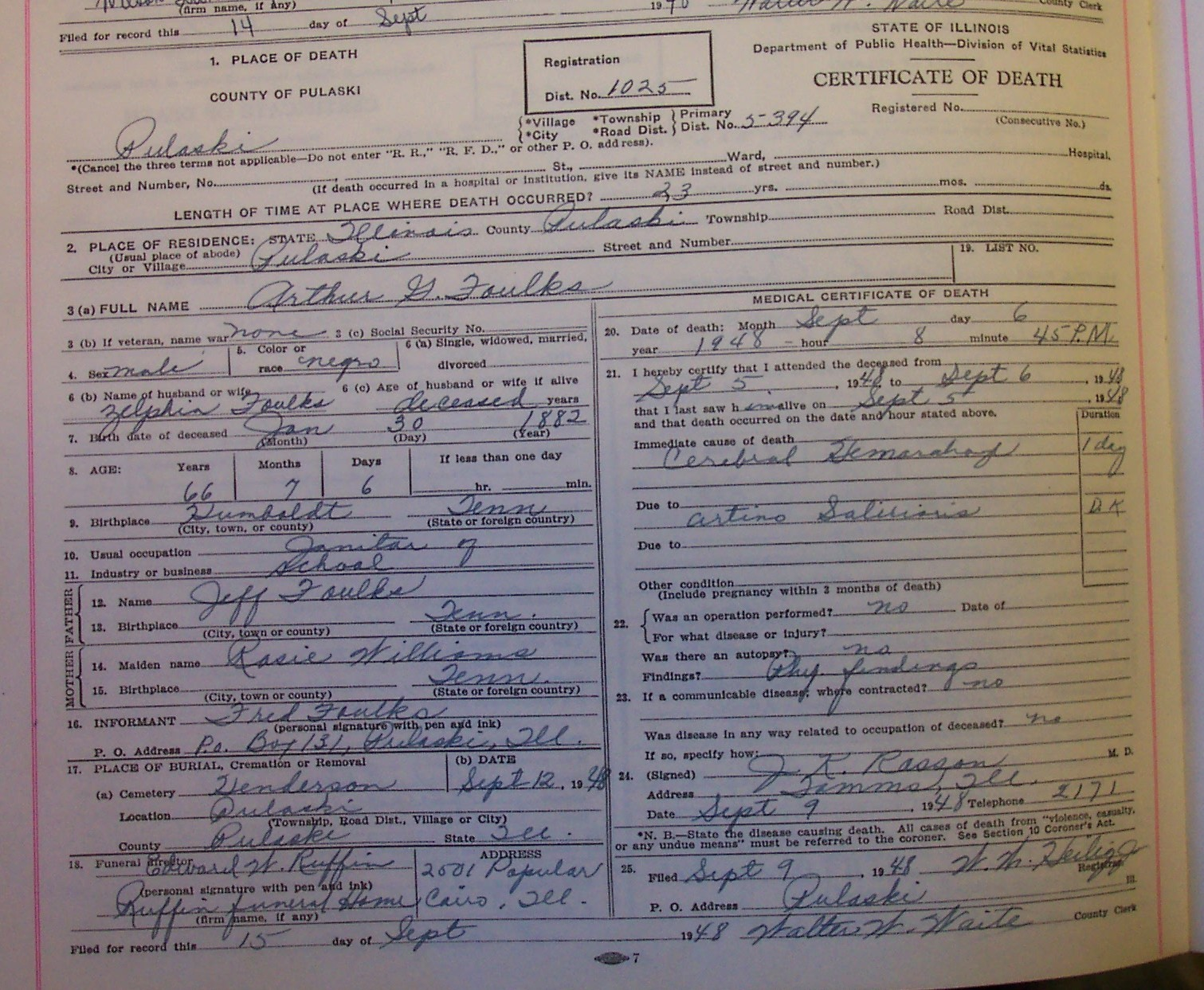 Illinois death certificate transcriptions arthur foulks xflitez Choice Image
