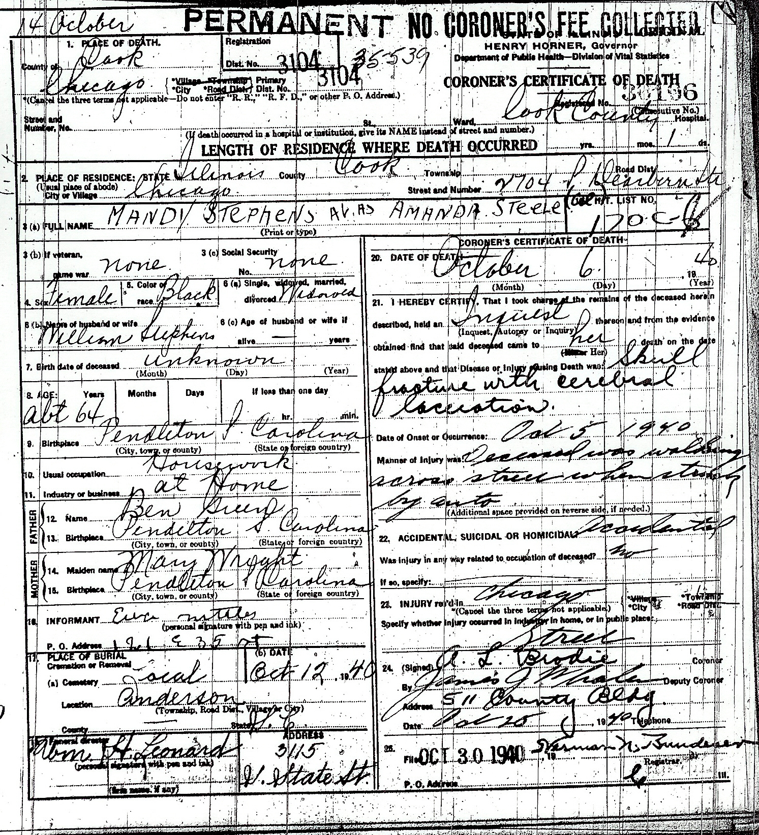 Illinois death certificate transcriptions mandy stephens 1betcityfo Image collections