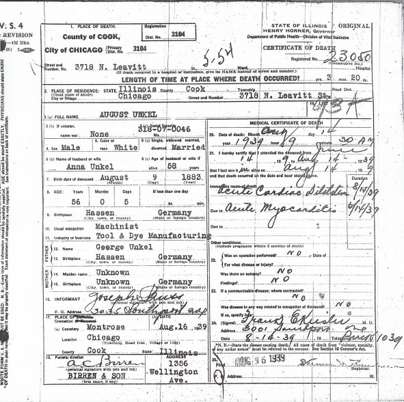 certificate cook county death illinois