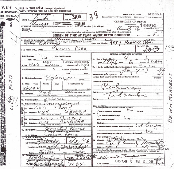 death certificate transcriptions