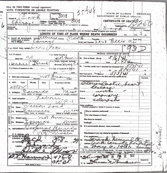 illinois death certificate transcriptions