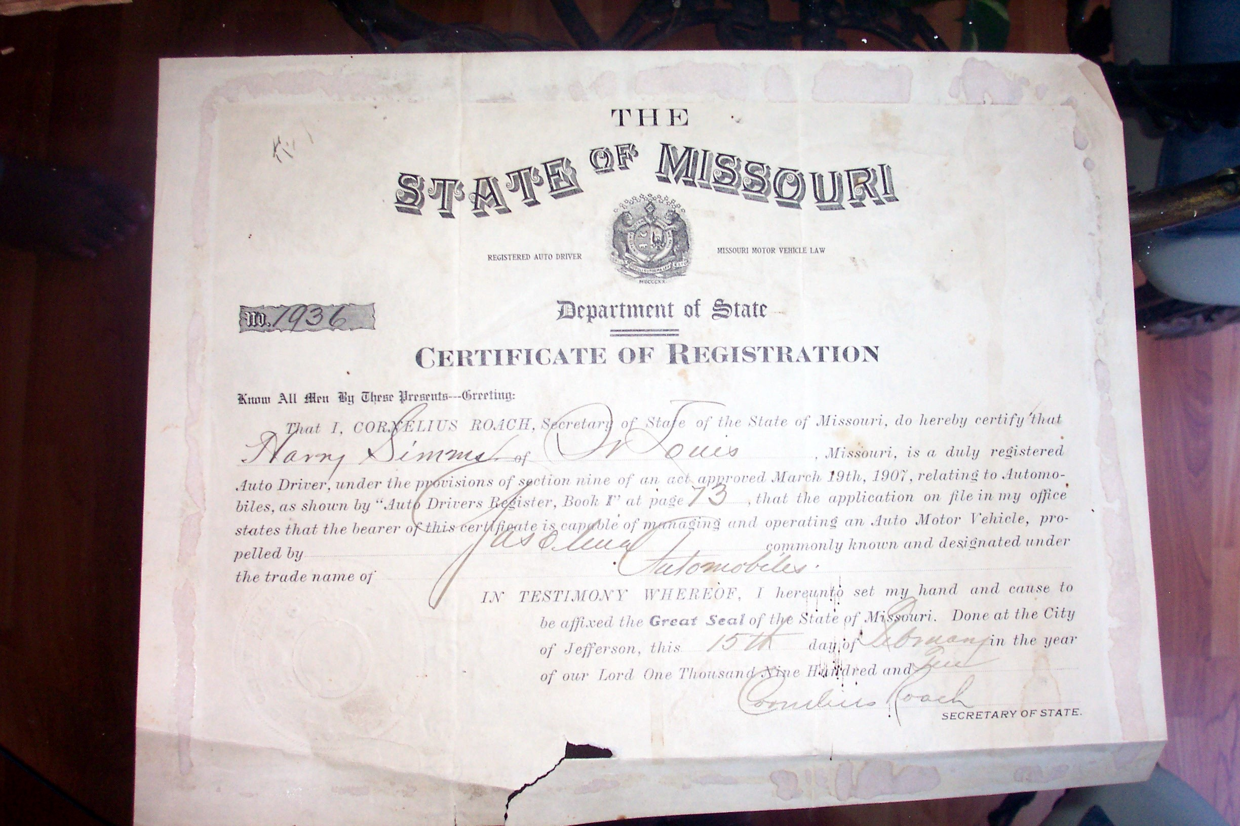 Missouri genealogy links state of missouri certificate of drivers registration for harry simms 1902 aiddatafo Images